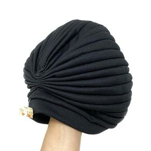 NWT Vintage Black Pleated Knotted Turban Hat